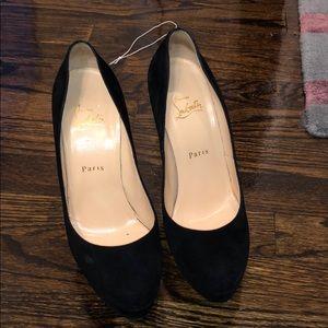 Christian Louboutin platform black suede heels